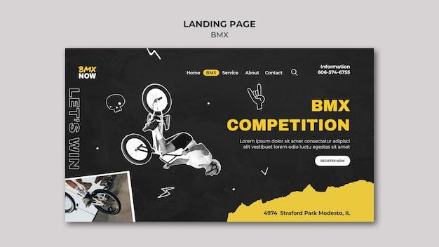 Landing page para bmx en bicicleta con hombre y bicicleta