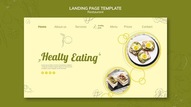 Landing page para desayuno saludable con bocadillos