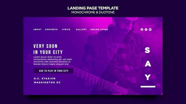 Landing page en duotono con músicos en concierto