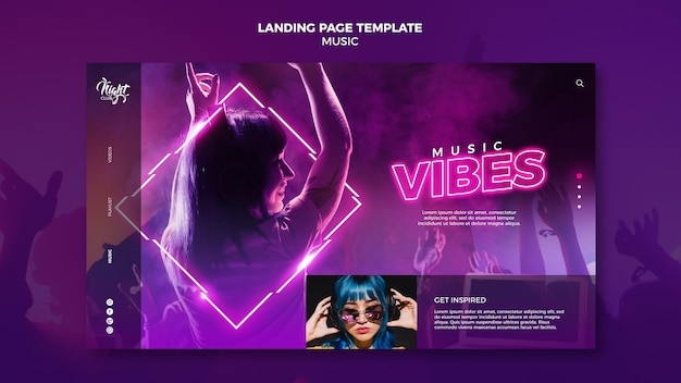 Landing page de neón para música electrónica con dj femenina