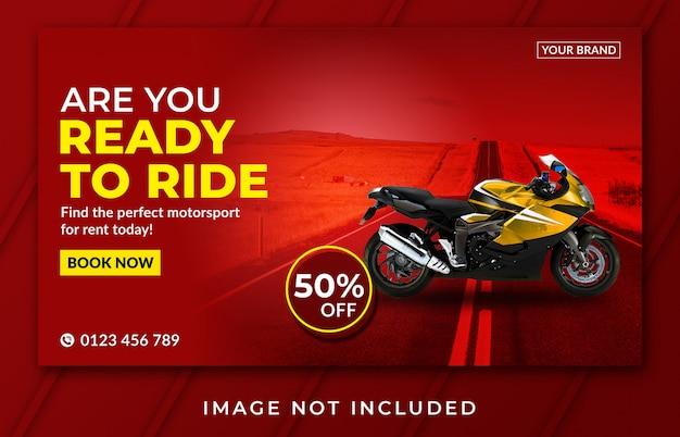 Landingspagina banner motorfiets verhuur sjabloon