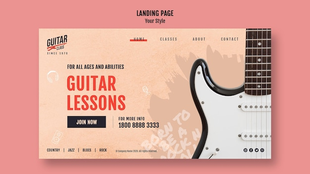 Landingspagina gitaarlessen sjabloon
