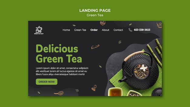 Landingspagina groene thee sjabloon