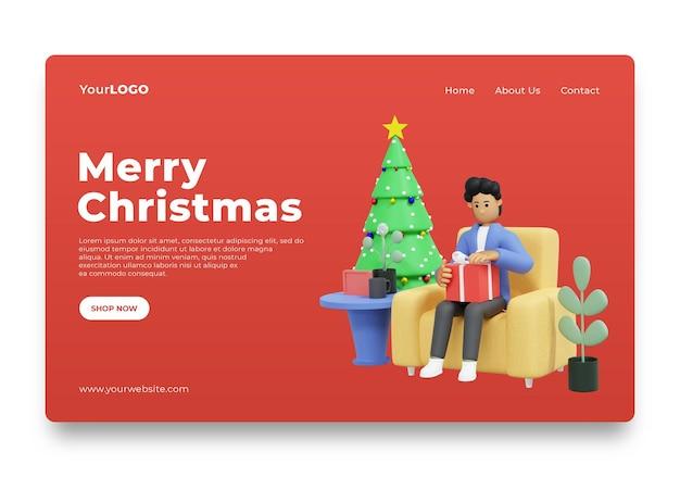 Landingspagina man openen kerstcadeaus thuis 3d rendering 3d illustratie premium psd
