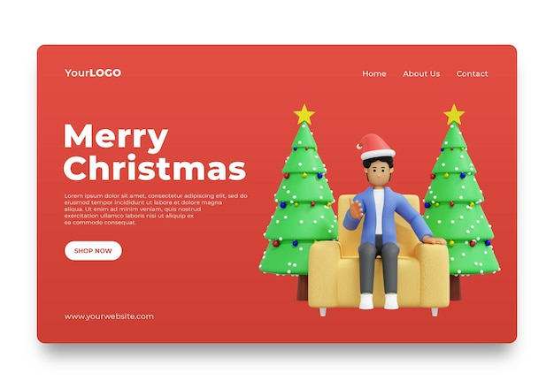 Landingspagina man viert kerst thuis 3d rendering 3d illustratie premium psd
