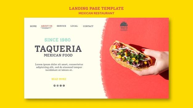 Landingspagina mexicaans restaurant sjabloon