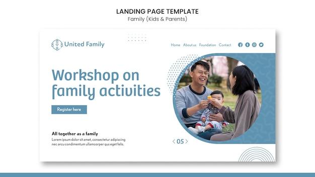 Landingspagina sjabloon met familie en kinderen