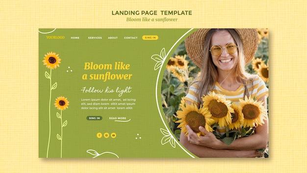 Landingspagina sjabloon met zonnebloemen en vrouw