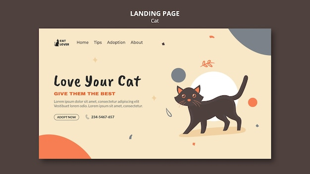Landingspagina sjabloon voor adoptie van katten