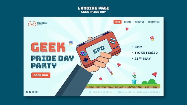 Landingspagina sjabloon voor geek pride-dag