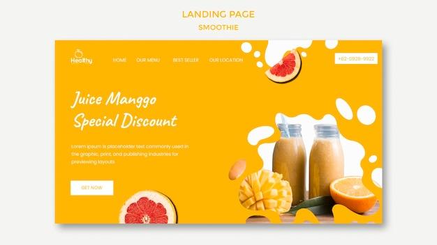 Landingspagina-sjabloon voor gezonde fruitsmoothies