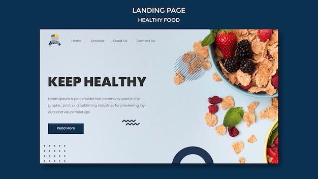 Landingspagina sjabloon voor gezonde voeding