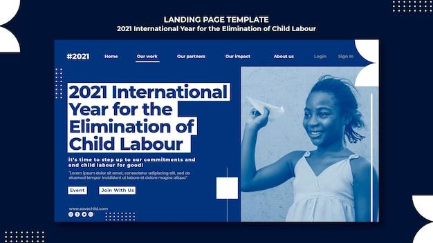 Landingspagina-sjabloon voor het internationale jaar voor de uitbanning van kinderarbeid