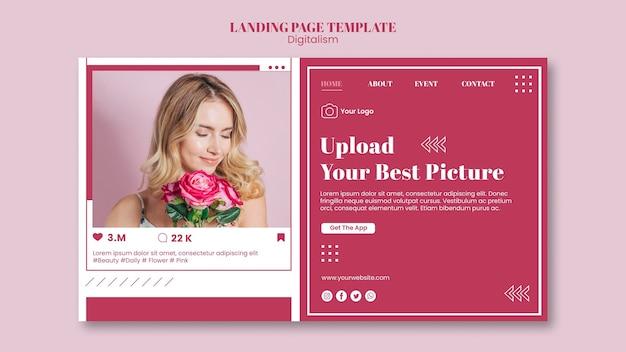 Landingspagina-sjabloon voor het uploaden van foto's op sociale media