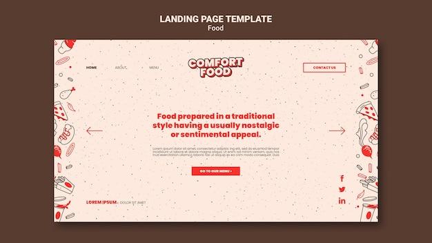 Landingspagina-sjabloon voor hotdog-comfortvoedsel
