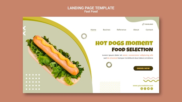 Landingspagina sjabloon voor hotdogrestaurant
