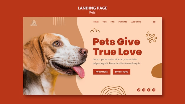 Landingspagina sjabloon voor huisdieren met schattige hond