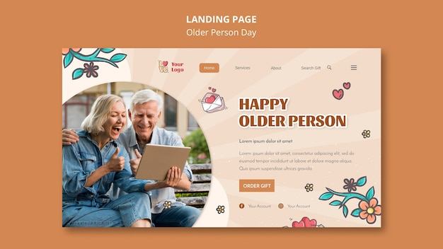 Landingspagina-sjabloon voor hulp en zorg voor ouderen