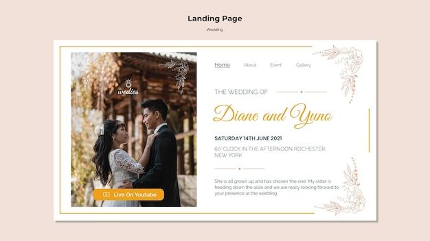 Landingspagina sjabloon voor huwelijksceremonie met bruid en bruidegom