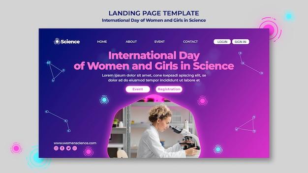 Landingspagina sjabloon voor internationale dag van vrouwen en meisjes in wetenschapsviering met vrouwelijke wetenschapper