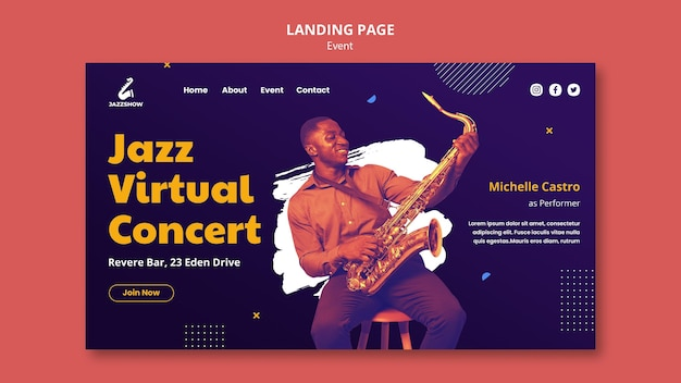 Landingspagina sjabloon voor jazzmuziekevenement