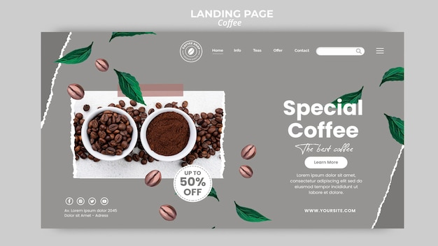 Landingspagina sjabloon voor koffie