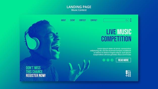 Landingspagina-sjabloon voor livemuziekwedstrijd met artiest