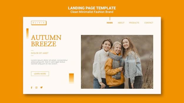 Landingspagina-sjabloon voor minimalistisch herfstmodemerk