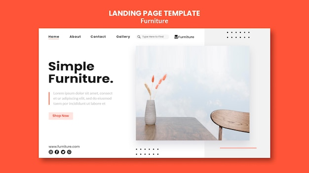 Landingspagina-sjabloon voor minimalistische meubelontwerpen
