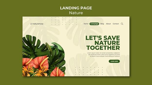 Landingspagina-sjabloon voor natuurbehoud Premium Psd