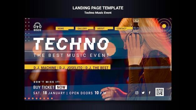 Landingspagina sjabloon voor techno muziekavondfeest
