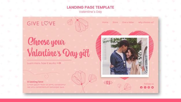 Landingspagina sjabloon voor valentijnsdag met foto van paar