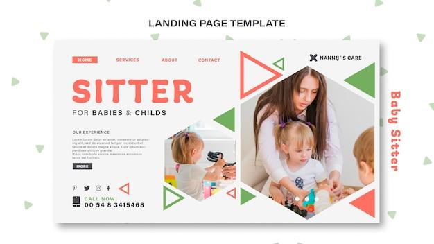 Landingspagina sjabloon voor vrouwelijke babysitter met kind Premium Psd