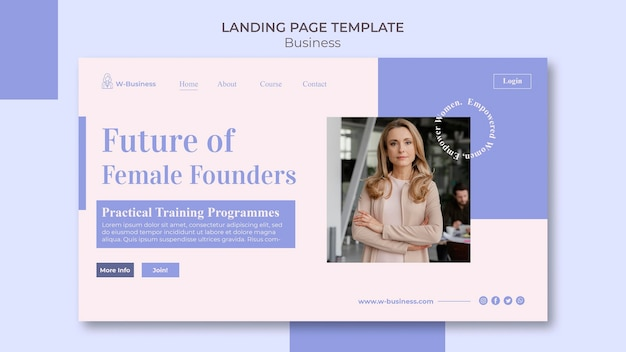 Landingspagina-sjabloon voor vrouwen in het bedrijfsleven