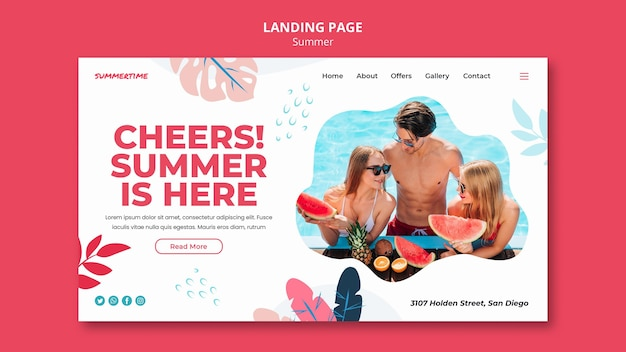 Landingspagina-sjabloon voor zomerplezier bij het zwembad