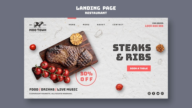 Landingspagina steak restaurant sjabloon