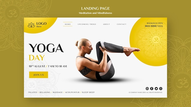 Landingspagina-thema meditatie en mindfulness