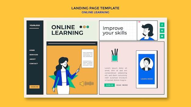 Landingspagina van online leersjabloon
