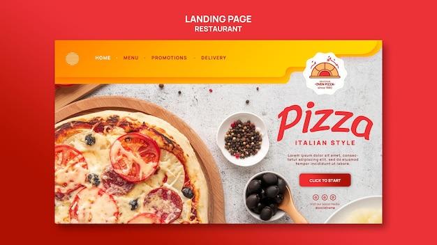 Landingspagina van pizzarestaurant