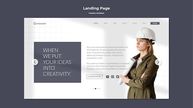 Landingspagina voor creatieve architect