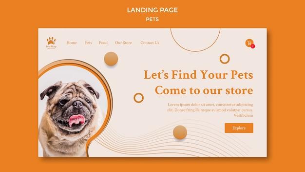 Landingspagina voor dierenwinkel met hond