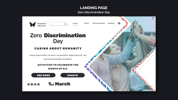 Landingspagina voor evenement op de dag van nul discriminatie