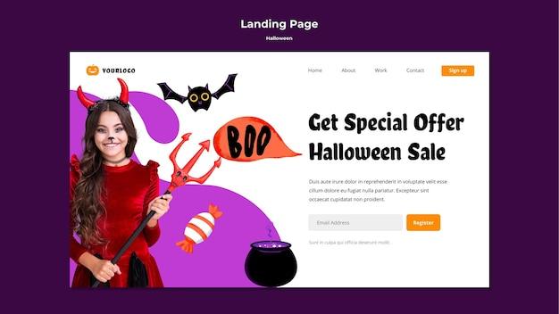 Landingspagina voor halloween-verkoop