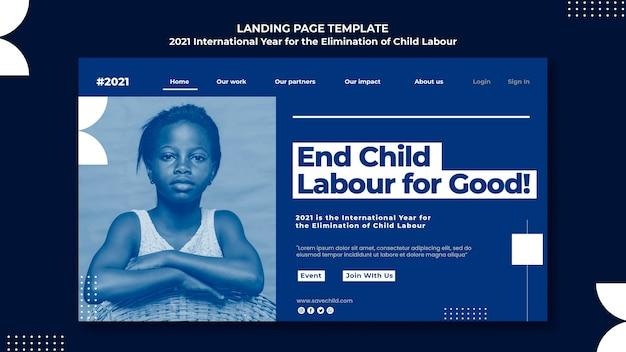 Landingspagina voor het internationale jaar voor de uitbanning van kinderarbeid