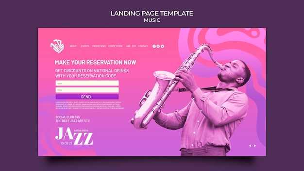 Landingspagina voor jazzfestival en club
