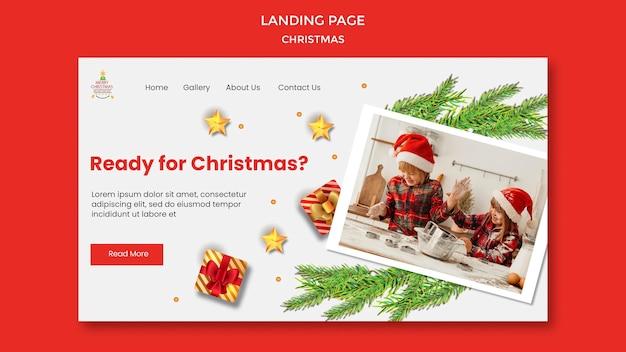 Landingspagina voor kerstfeest met kinderen in kerstmutsen