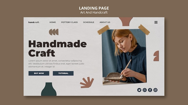 Landingspagina voor kunst en handwerk