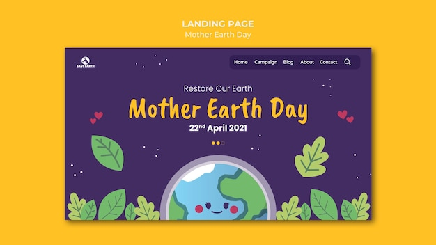 Landingspagina voor moeder aarde dag
