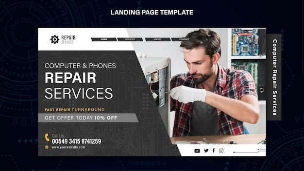 Landingspagina voor reparatiediensten voor computers en telefoons