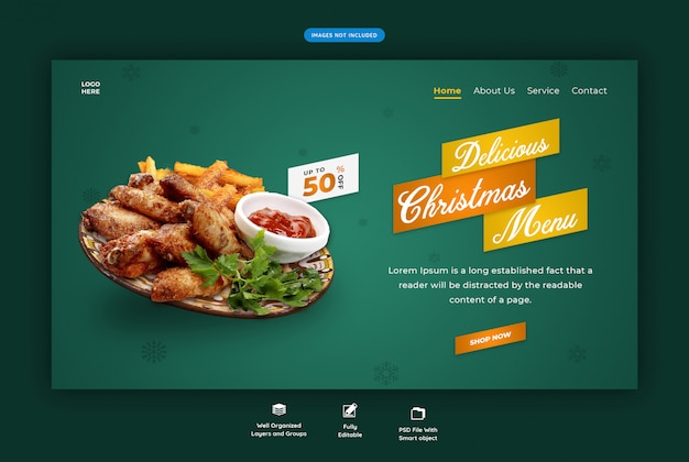 Landingspagina voor restaurant met speciaal kerstmenu
